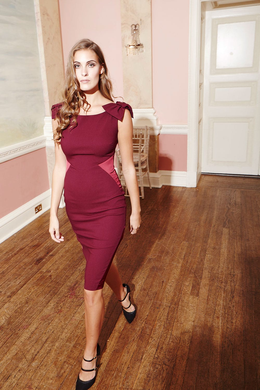 Hybridfashion.com 1138 Wine Red Candice Pencil Dress