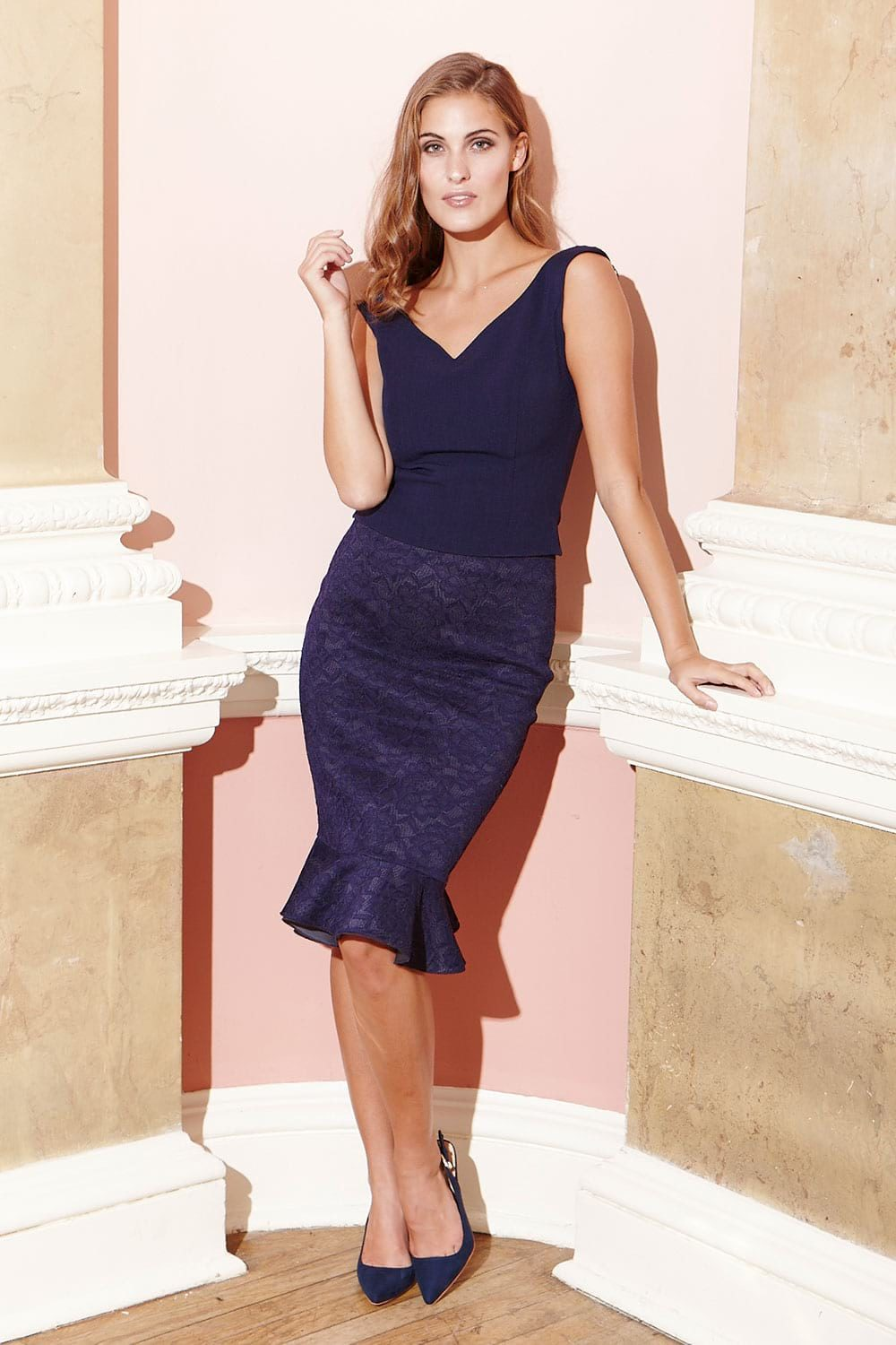 Hybrid Miranda 1178 Navy Top and Claire 1185 Ruffle Skirt
