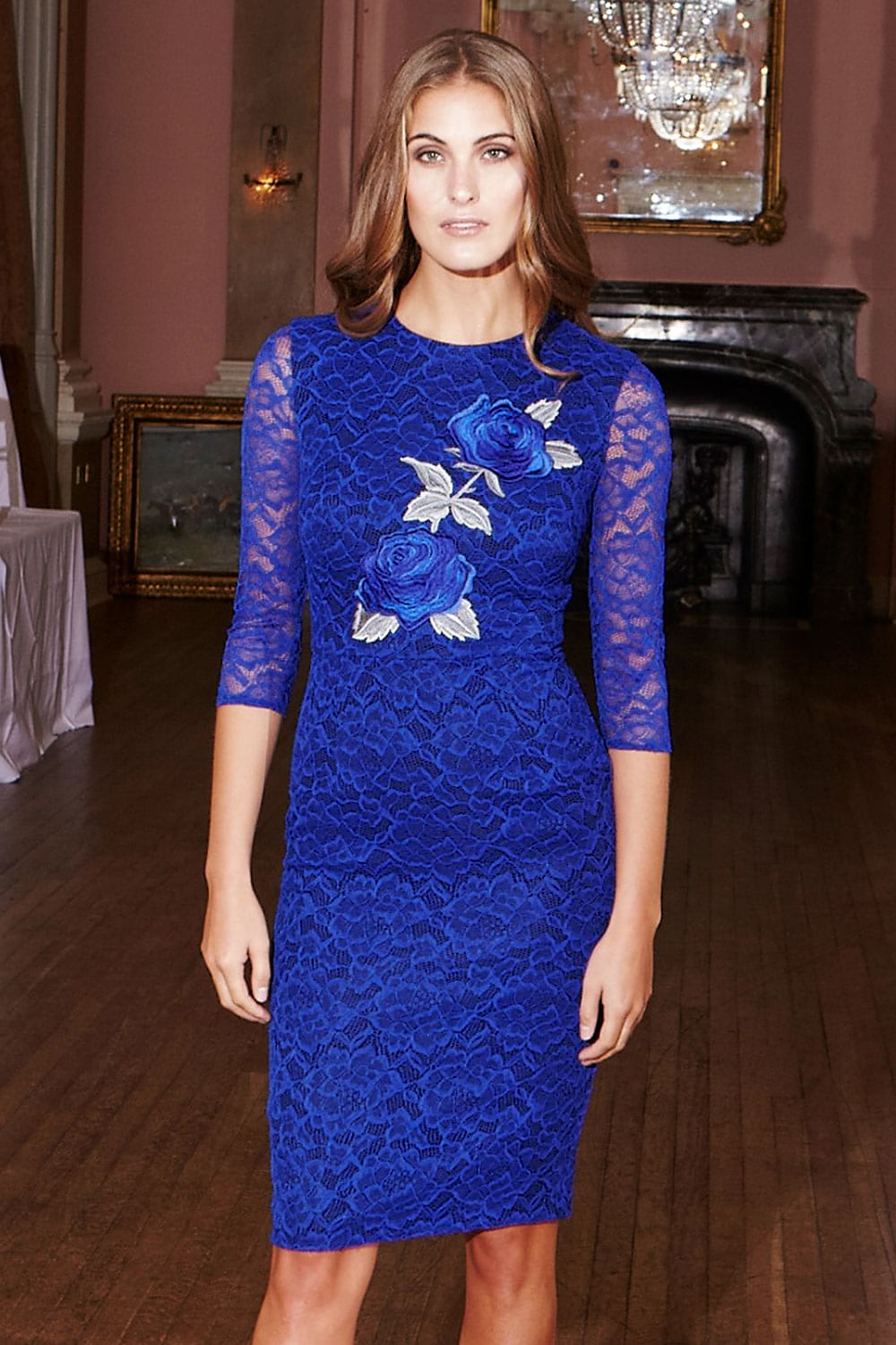 Hybrid Jaleh 1179 Cobalt Rose Applique Lace Overlay Dress