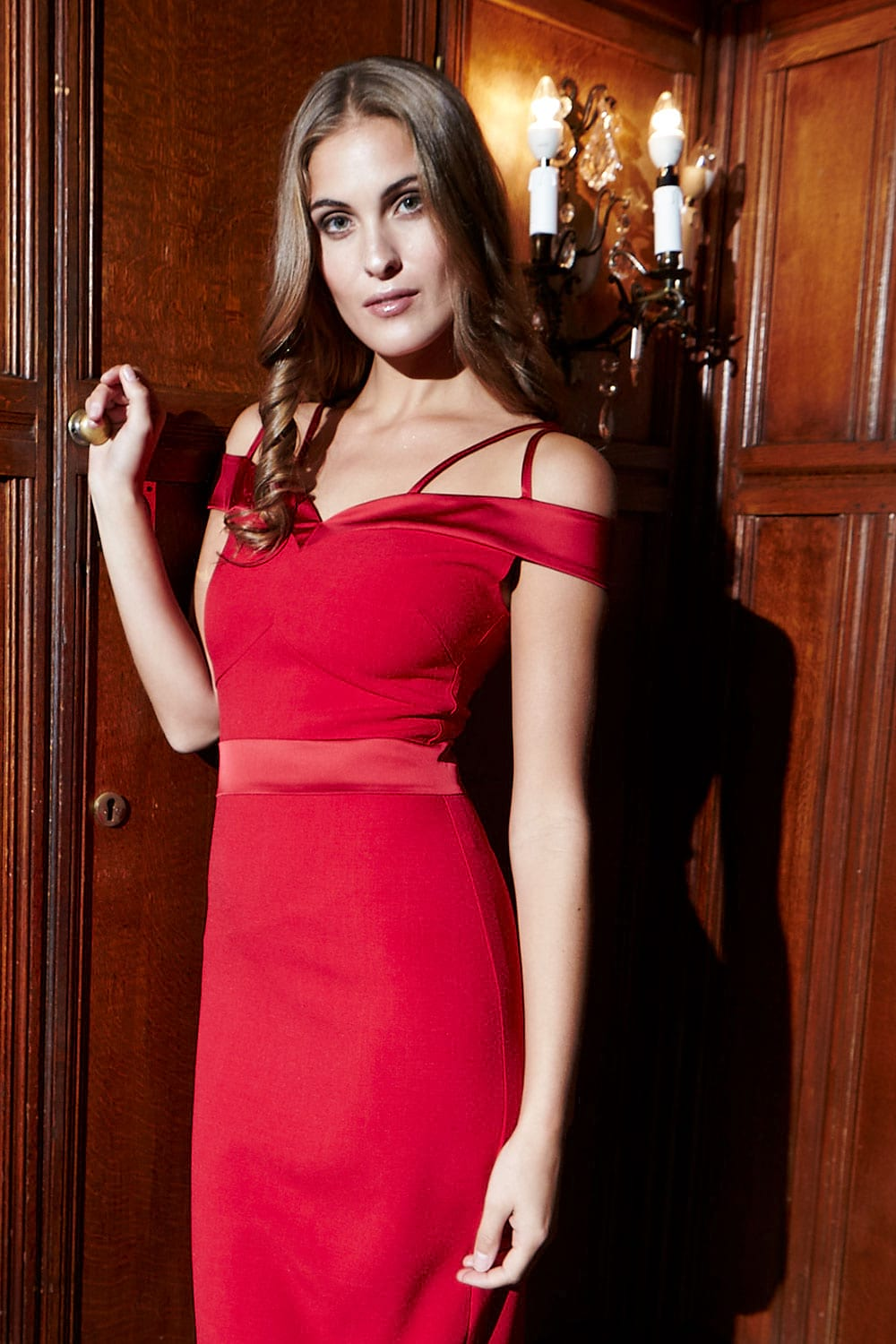 Hybrid Fashion 1195 Kristen Red Double Strap Pencil Dress