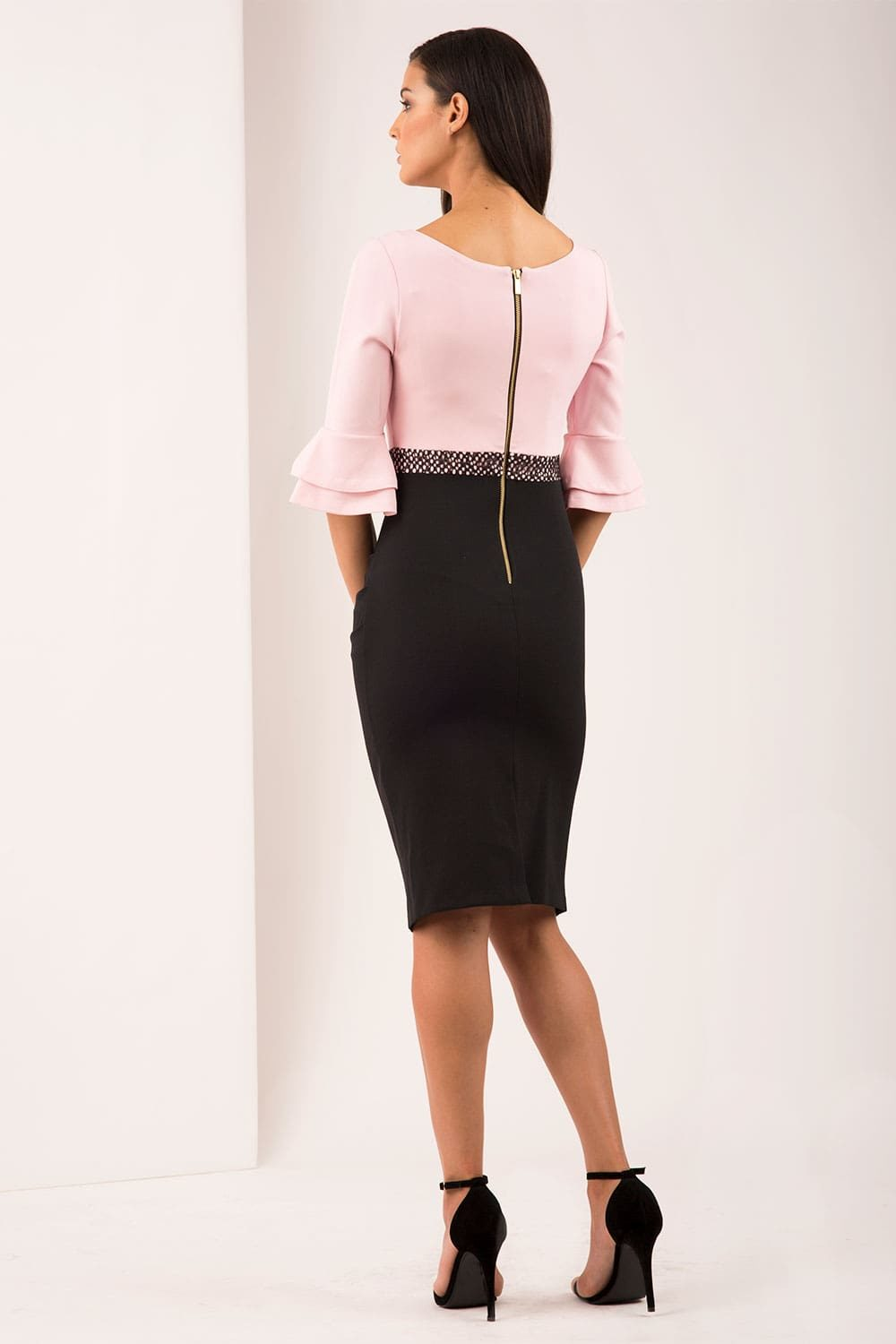Hybrid Fashion 1272 Rose Bell Sleeve Pencil Dress