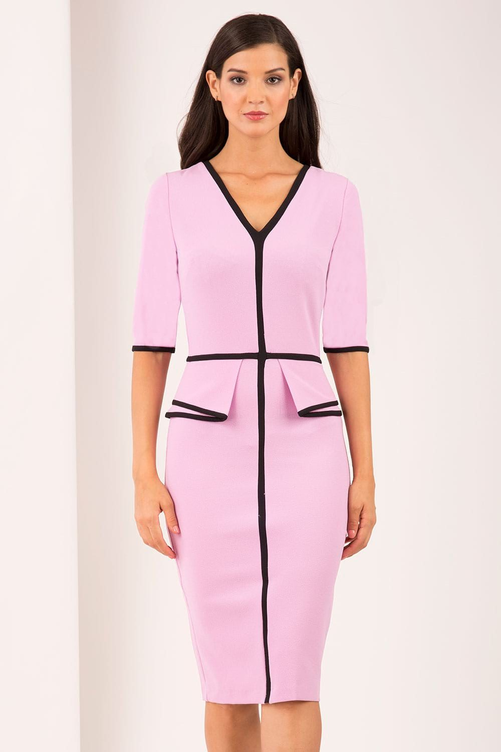 Hybrid Fashion 1395 Velma Contrast Piping Peplum Dress
