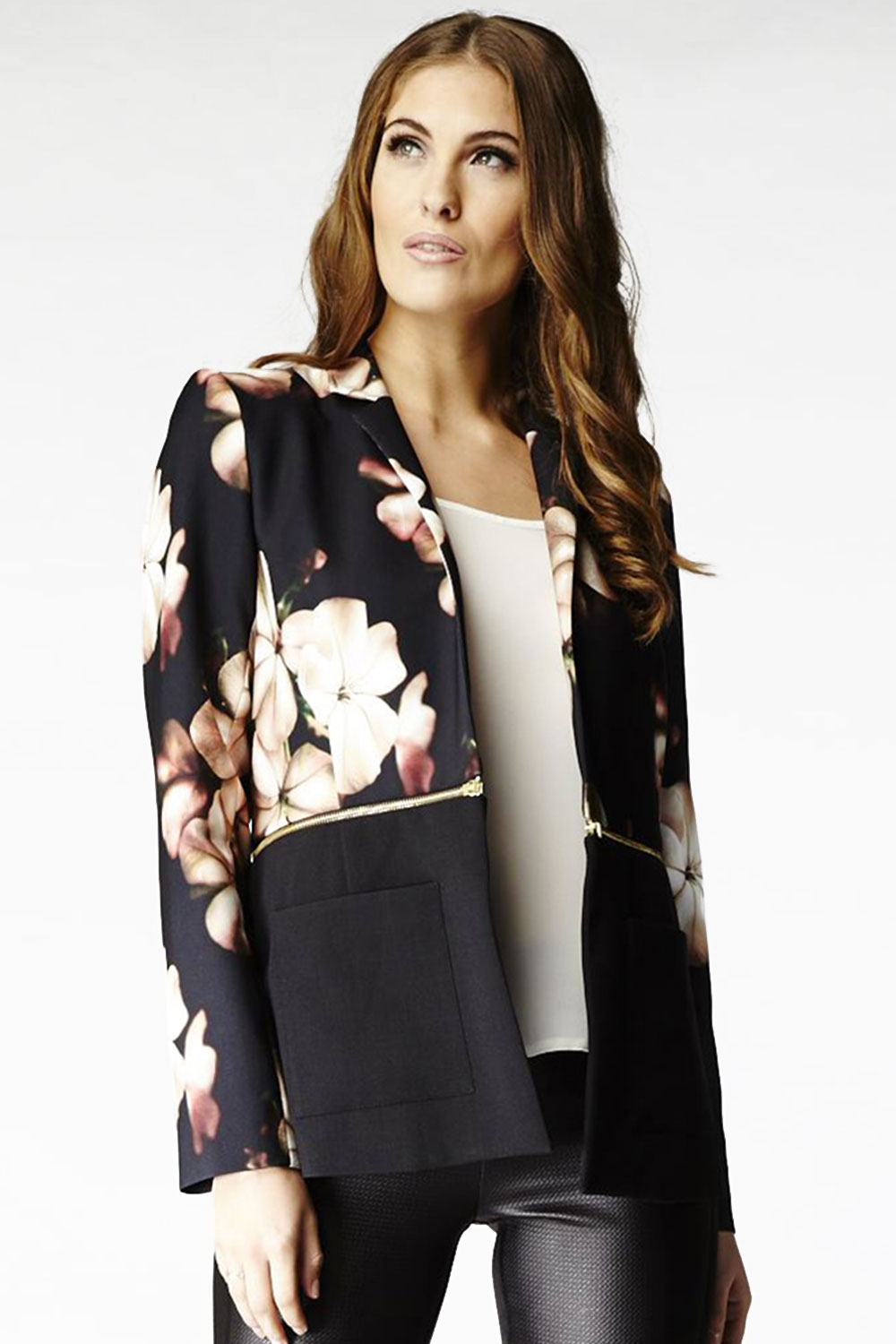 Hybrid 1085 Veronique Black Floral Blazer