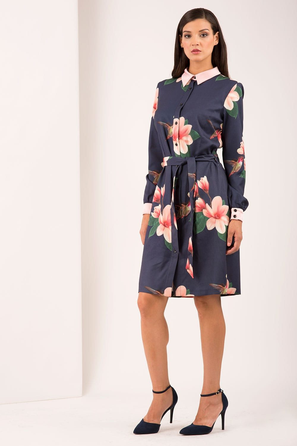 Hybrid Fashion 1189 Melanie Bird Print Shirt Dress