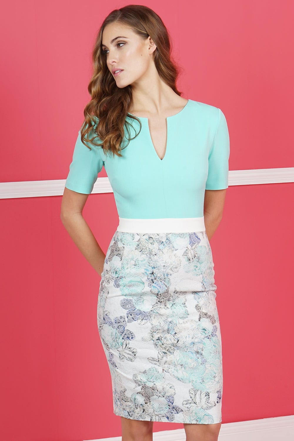 Hybrid Fashion 1204 Josie Mint Jacquard Pencil Dress