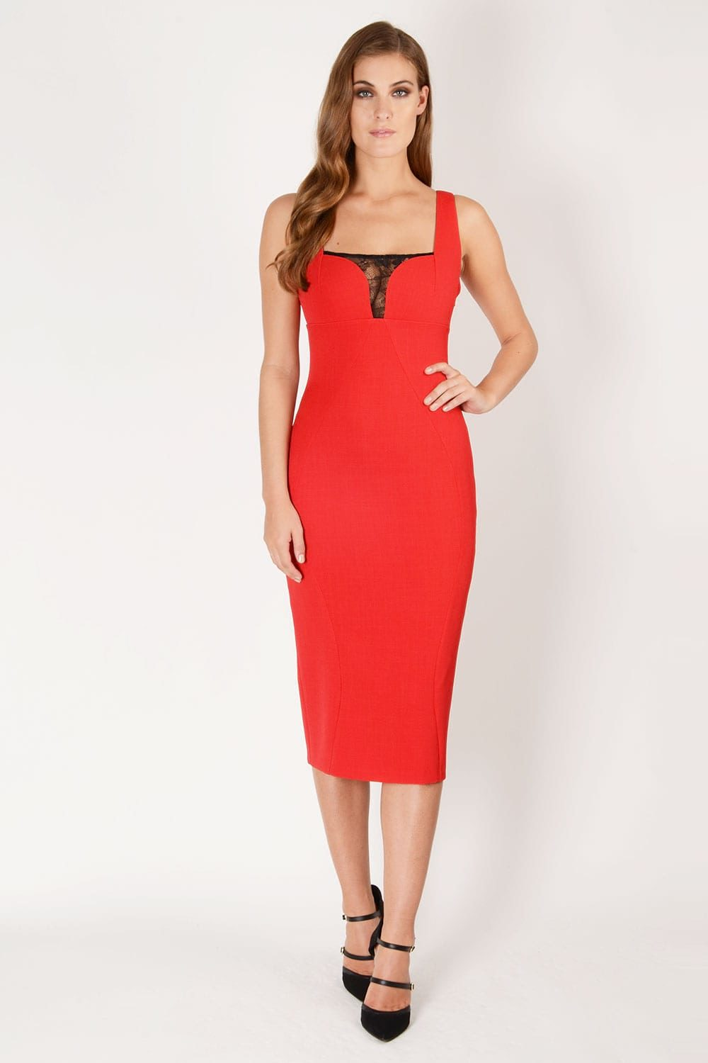Hybrid Fashion 1229 Erin Lace Insert Midi Dress