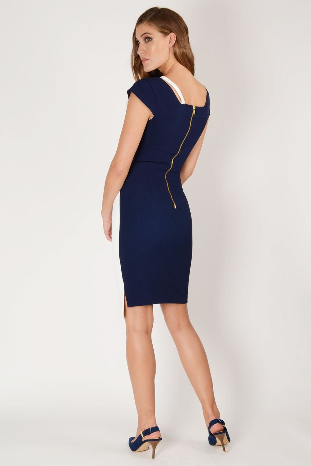 1243Hybrid Fashion 1243 Winona Asymmetric Pencil Dressback