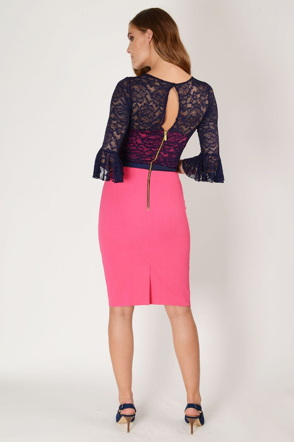 Hybrid Fashion 1248 Zoe Lace Bell Sleeve Pencil Dress