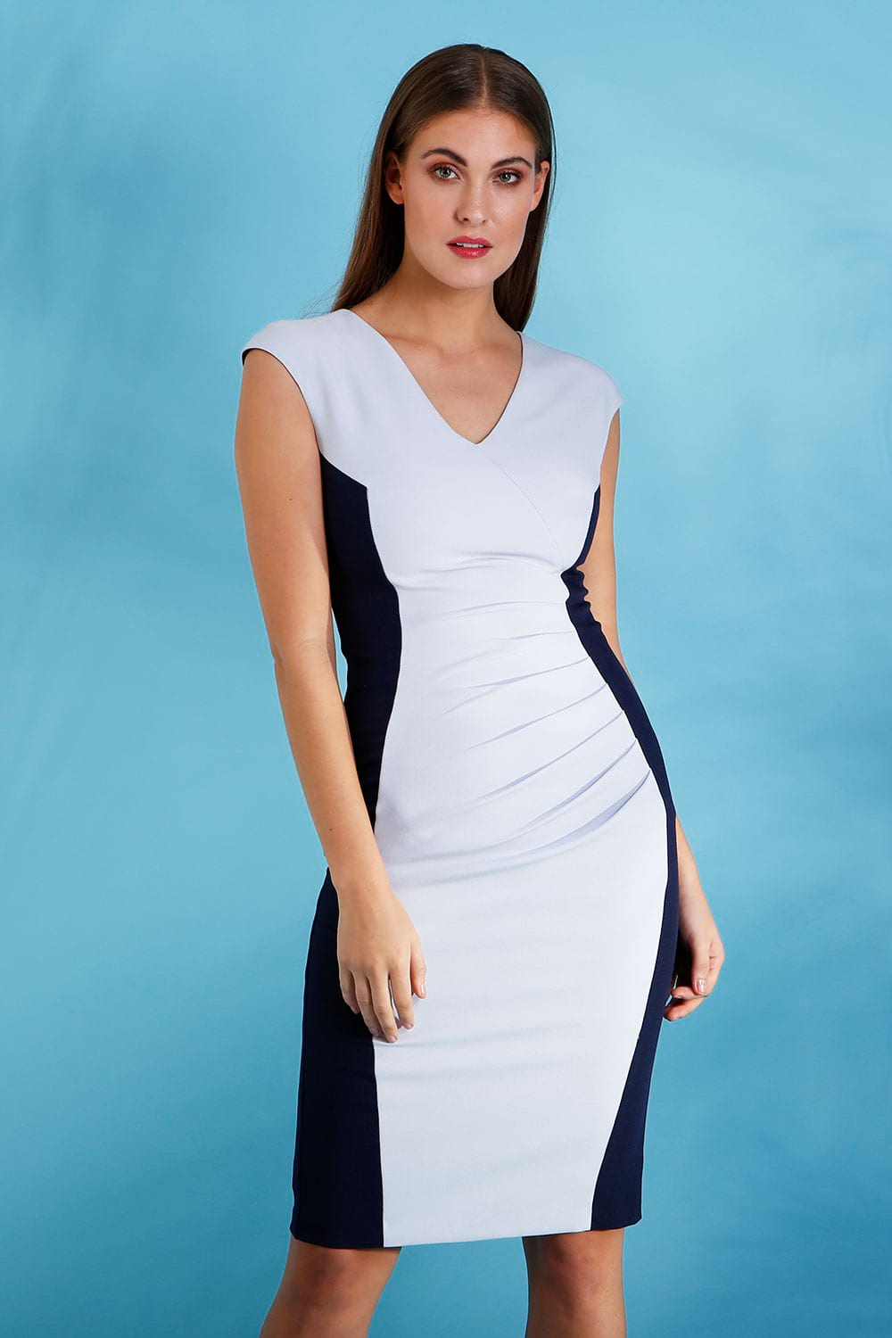 Hybrid Fashion 1282 Portia Contrast Panel Pencil Dress