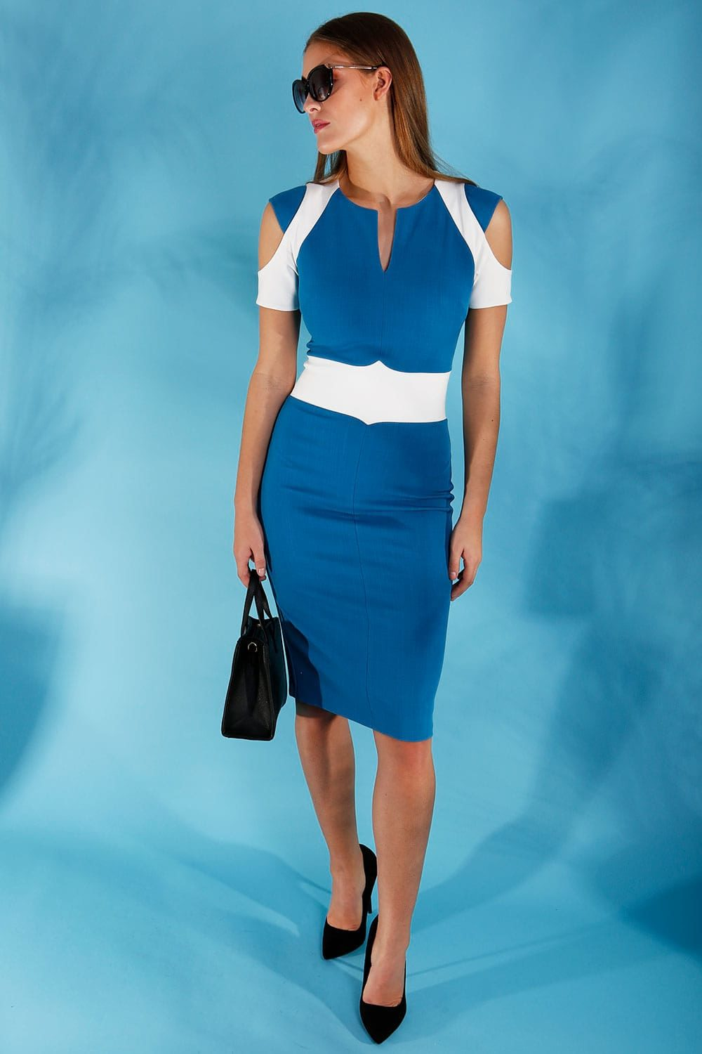 Hybrid Fashion 1294 Emmy Cold Shoulder Contrast Dress