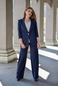 Woman wearing a blue suit