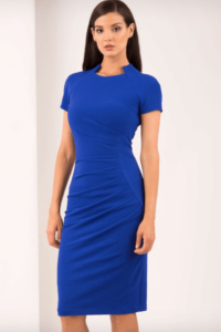 Woman wearing a bright blue pencil dress