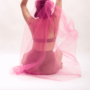 Woman wearing black underwear and holding a pink light fabric to cover herself