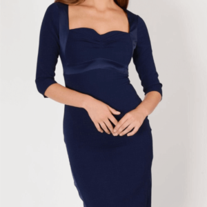 Woman wearing an elegant, blue sheath dress