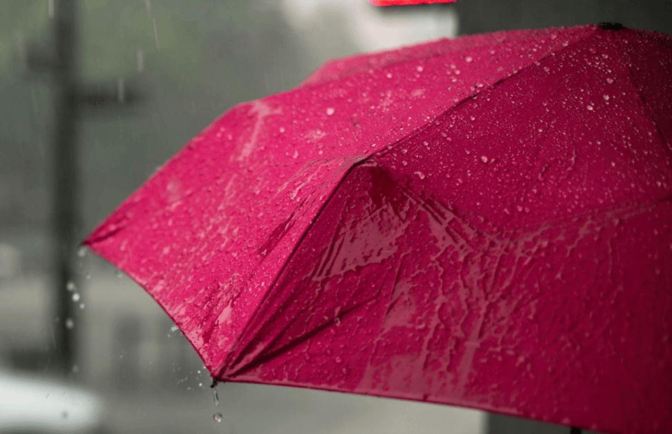 A pink umbrella on a rainy day