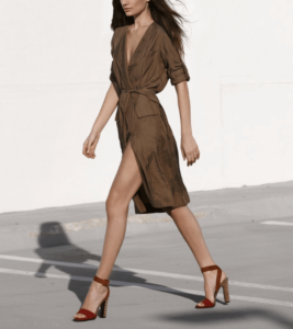 Woman wearing a wrap dress and heels