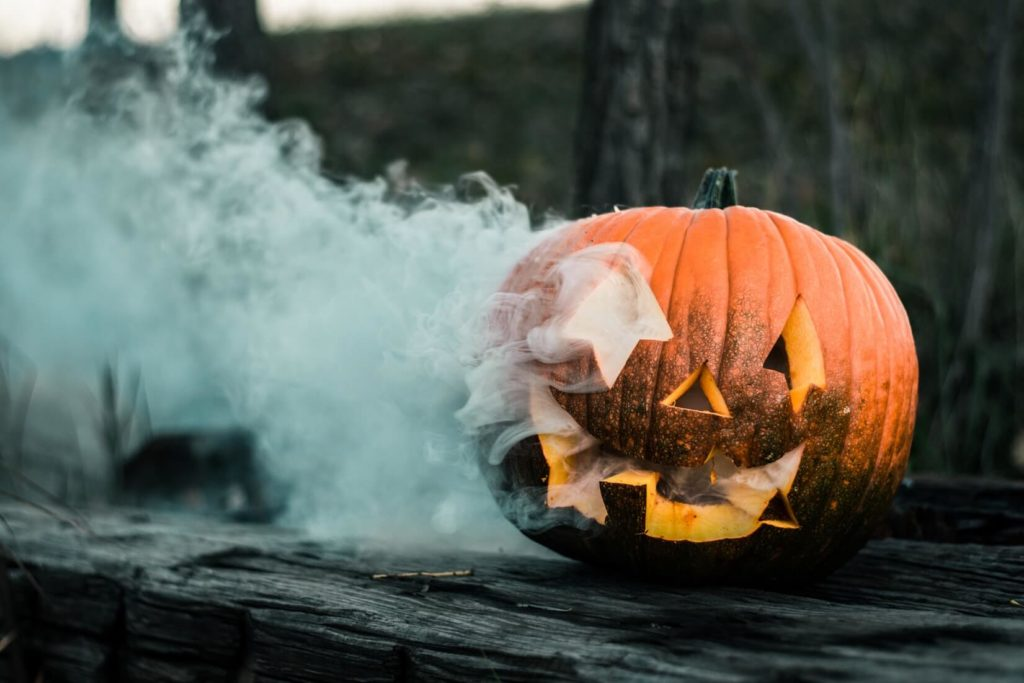 photograph of pumpkin with smoke