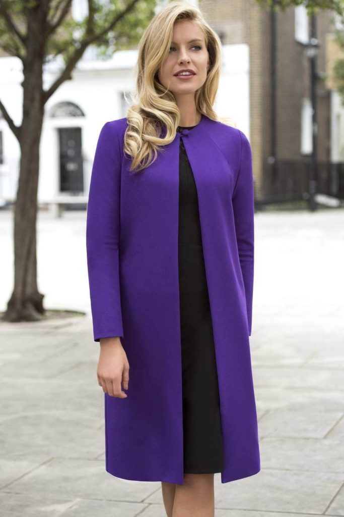 model wearing violet Bliss Coat
