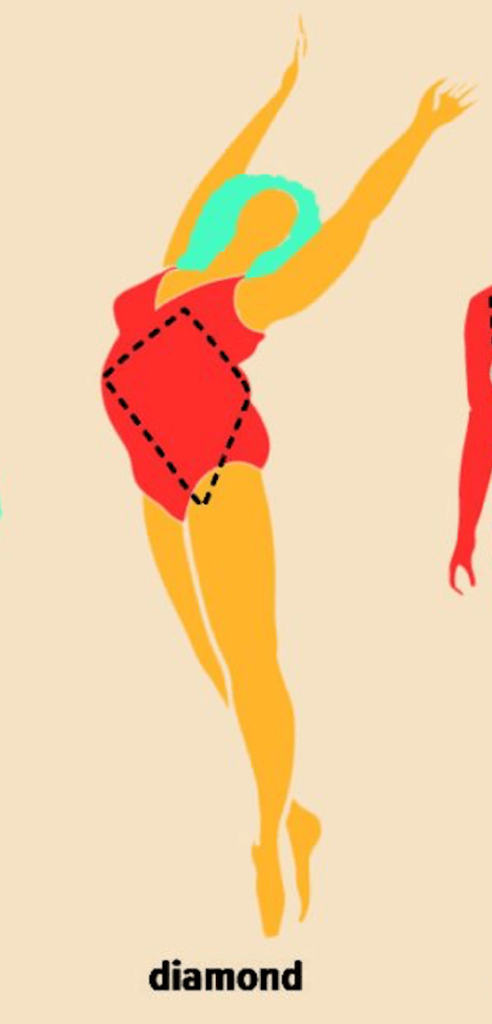 drawing of women with dimond body type