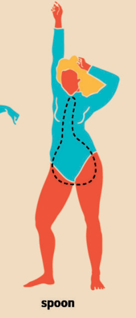 drawing of a woman with a spoon body type