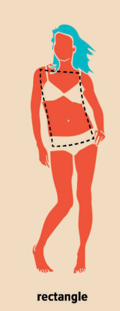 drawing of a women with a rectangle body type